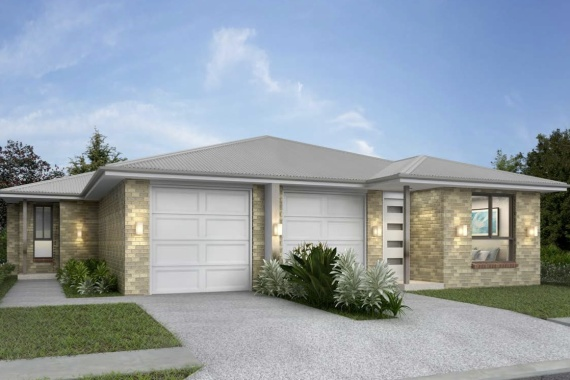 Front of modern single storey beige and white patterned brick duplex. Driveways divided by paint . White garage doors.