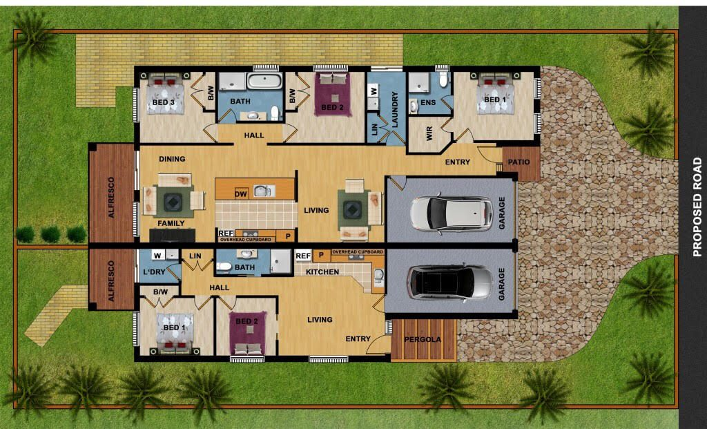 Overhead floor plan and external view of duplex. One by 3 bed, 2 bath. One by 2 bed,1 bath.