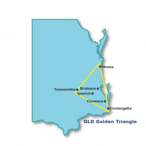 Outline of south east Queensland with a yellow triangle from Coolangatta to Noosa to Toowoomba